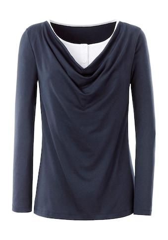Classic Inspirationen Shirt mit Rundhals - Ausschnitt und Knopfleiste am Wasserfall - Ausschnitt kaufen