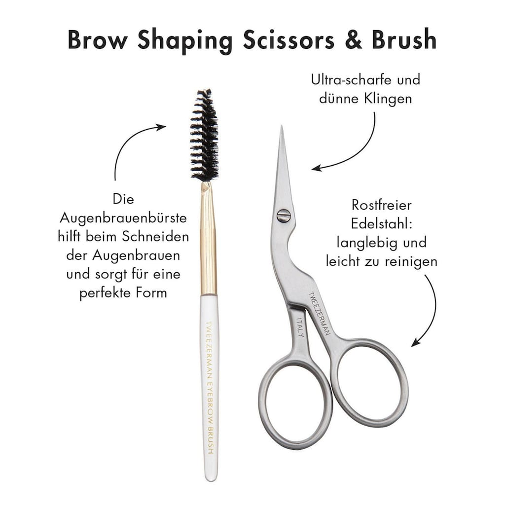 TWEEZERMAN Augenbrauen-Kosmetika »Brow Shaping Scissors & Brush«, (2 tlg.)