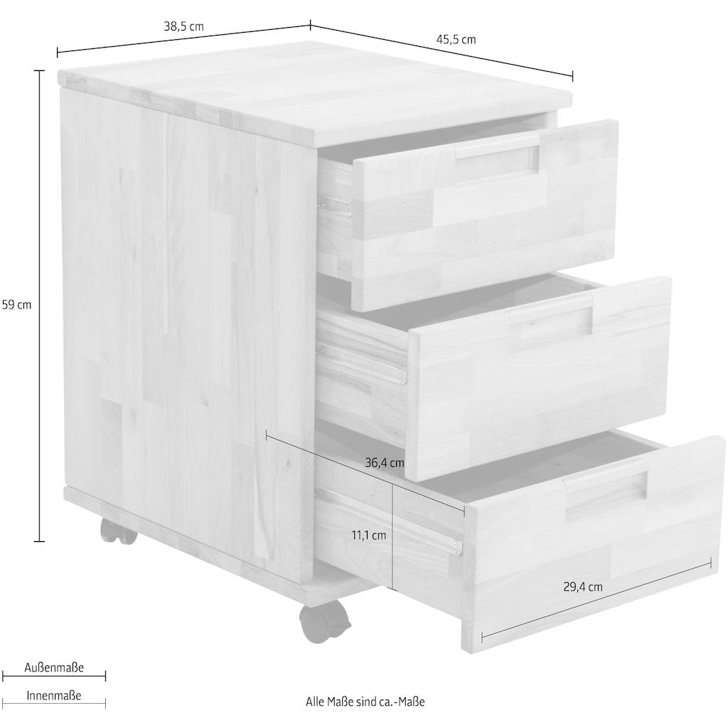 Home affaire Rollcontainer »Robi«, aus massiv geölter Buche, mit 3 Schubladen, Breite 38,5 cm