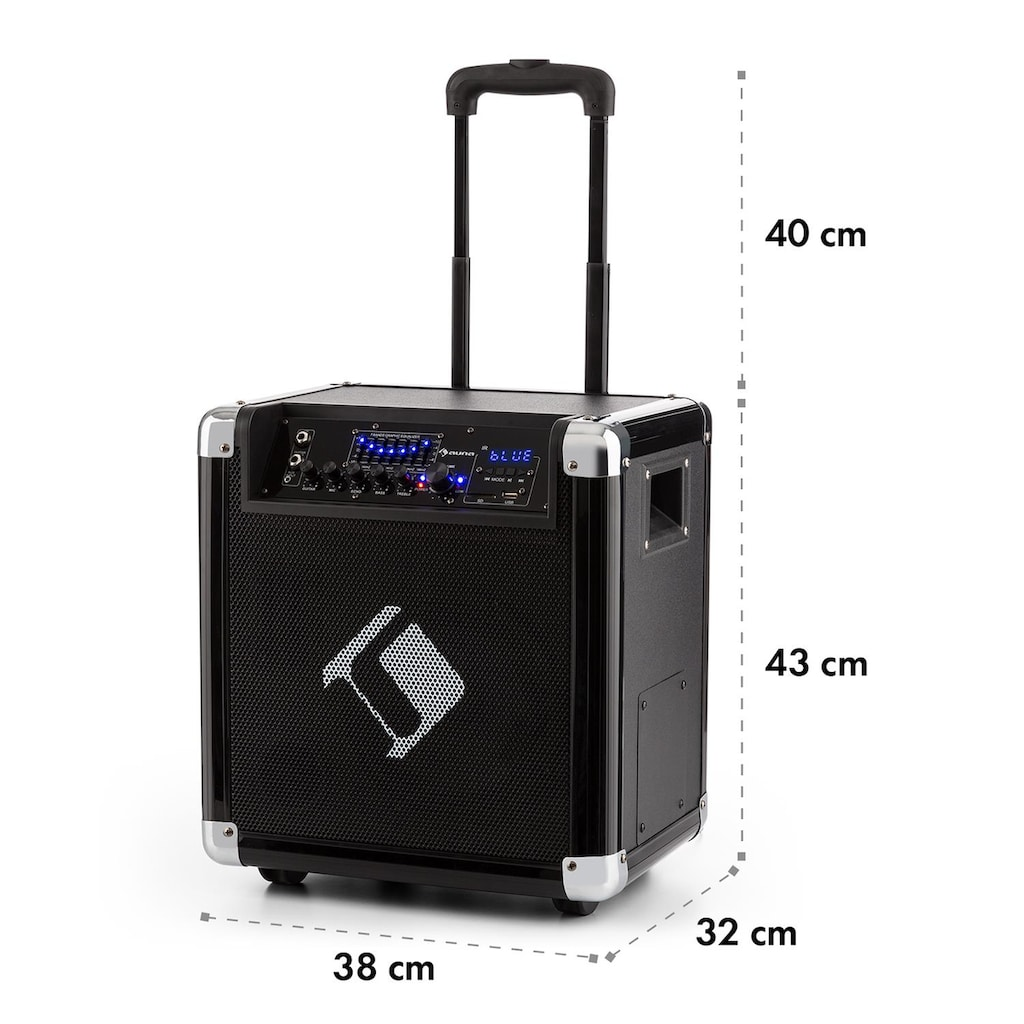 """Auna PA-Anlage 8"""" Woofer 35 / 100 Wmax. VHF-Mikro USB SD BT AUX mobil"""