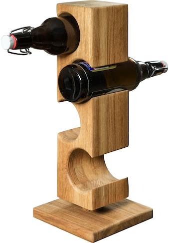 andas Flaschenregal »Everett«, aus massivem geölten Eichenholz, Platz für vier... kaufen