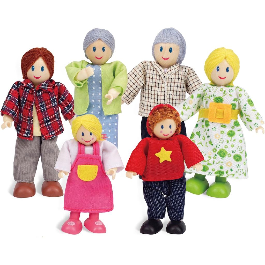 Hape Stoffpuppe »Puppenfamilie Helle Hautfarbe«, (Set, 6 tlg.)