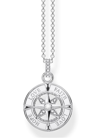 THOMAS SABO Kette mit Anhänger »Kompass, Glaube, Liebe, Hoffnung, KE1849-051-14-L45v«, mit Zirkonia kaufen