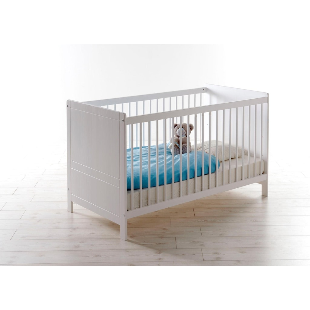 Ticaa Babyzimmer-Komplettset »Moritz«, (Set, 5 St.), Bett + Wickelkommode + Schrank + Unterstellregal + Standregal