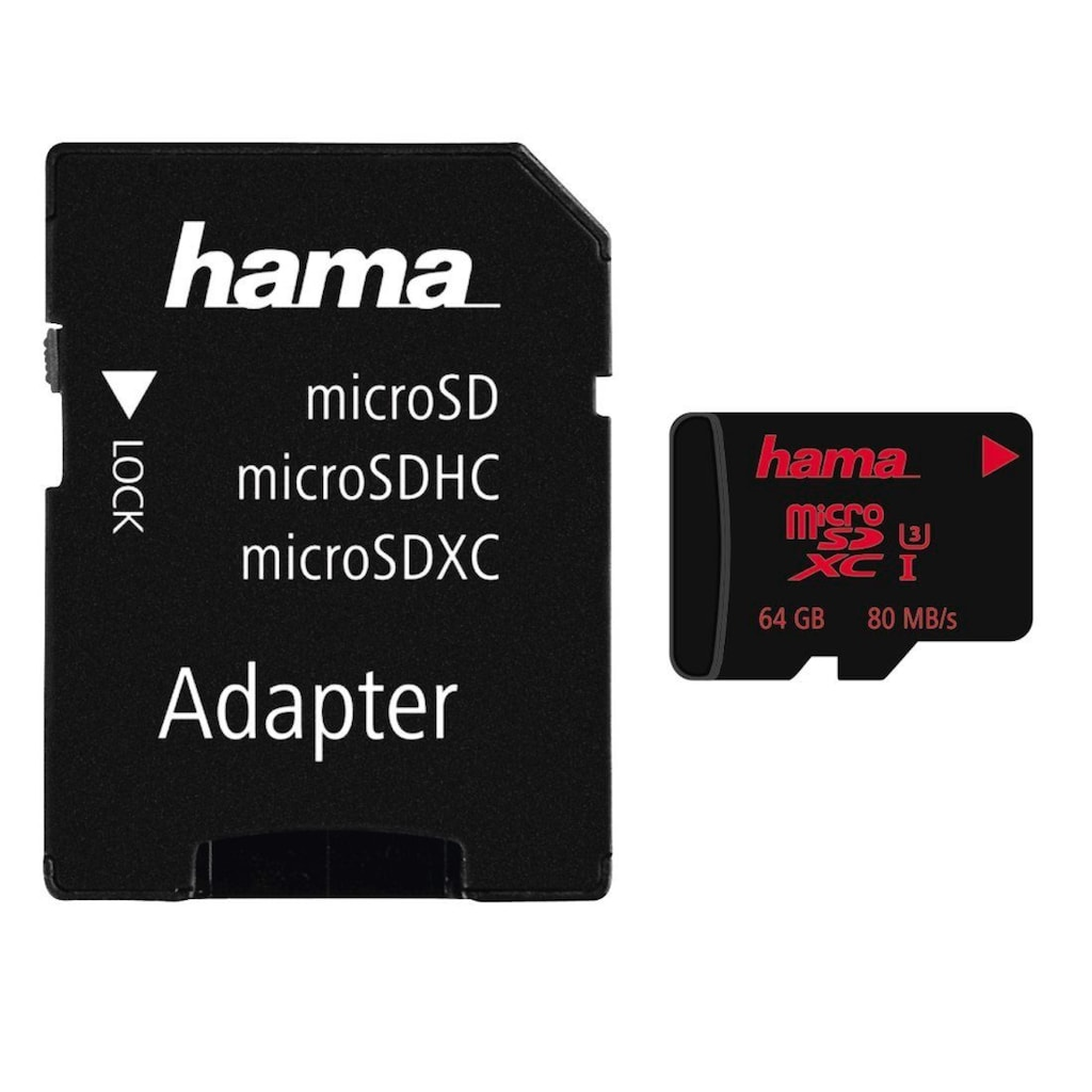 Hama microSDXC 64 GB UHS Speed Class 3 UHS-I 80 MB/s + Adapter