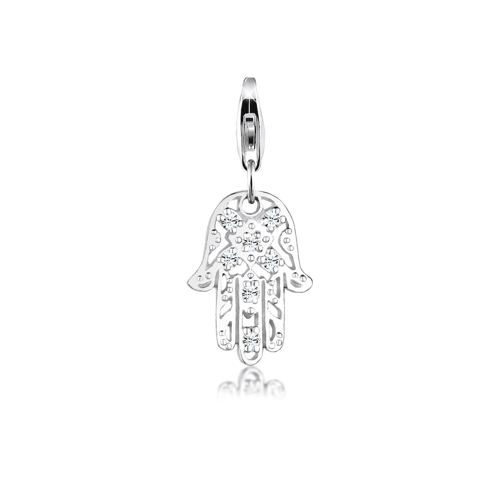 Nenalina Charm-Einhänger »Hamsa Hand Ornament Kristall 925 Silber«