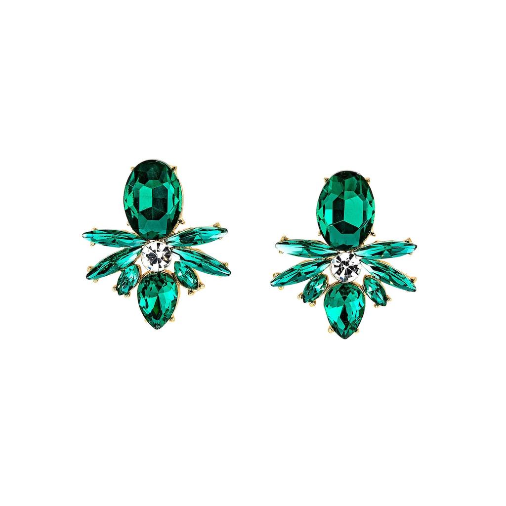 J.Jayz Paar Ohrstecker »smaragdgrün, Navette- und Tropfenschliff, glanzvoll«, mit Glassteinen