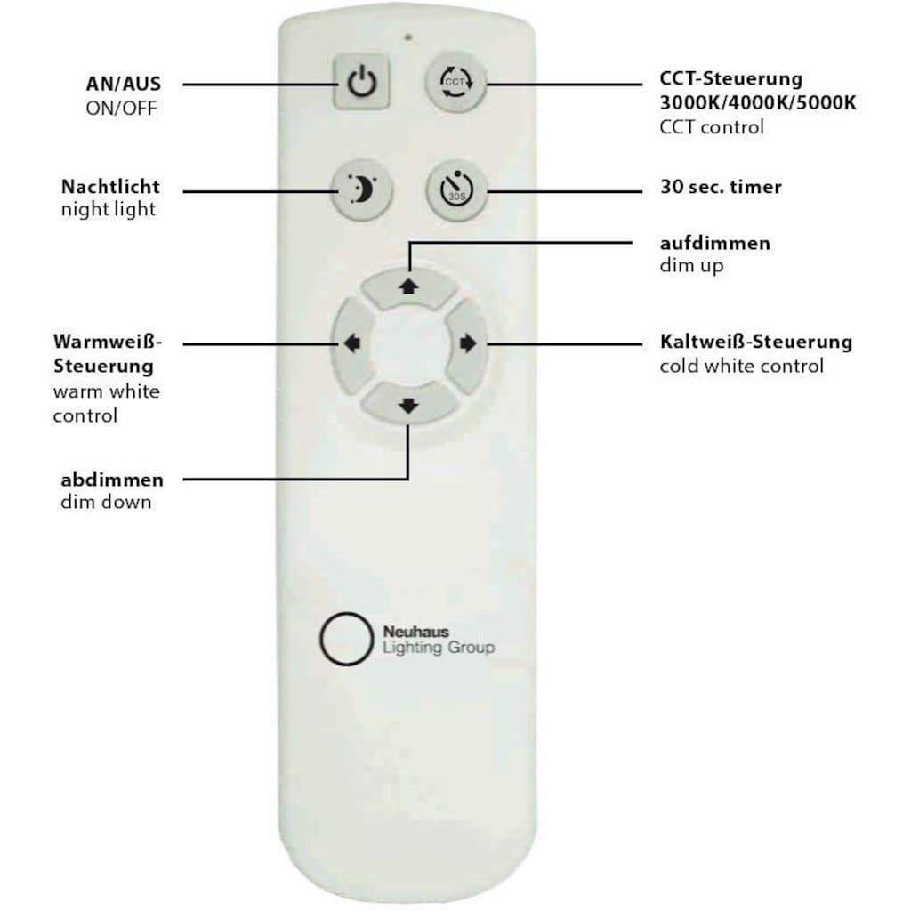 Leuchten Direkt Deckenleuchte »JONAS«, LED-Board, Warmweiß-Neutralweiß-Tageslichtweiß-Kaltweiß, 3-Stufen CCT - Farbtemperaturregelung (3000K/4000K/5000K), stufenloses Dimmen über IR-Fernbedienung, inklusive IR-Fernbedienung, Sternenhimmeloptik, Serienschalter, Memoryfunktion, Ø ca. 42 cm
