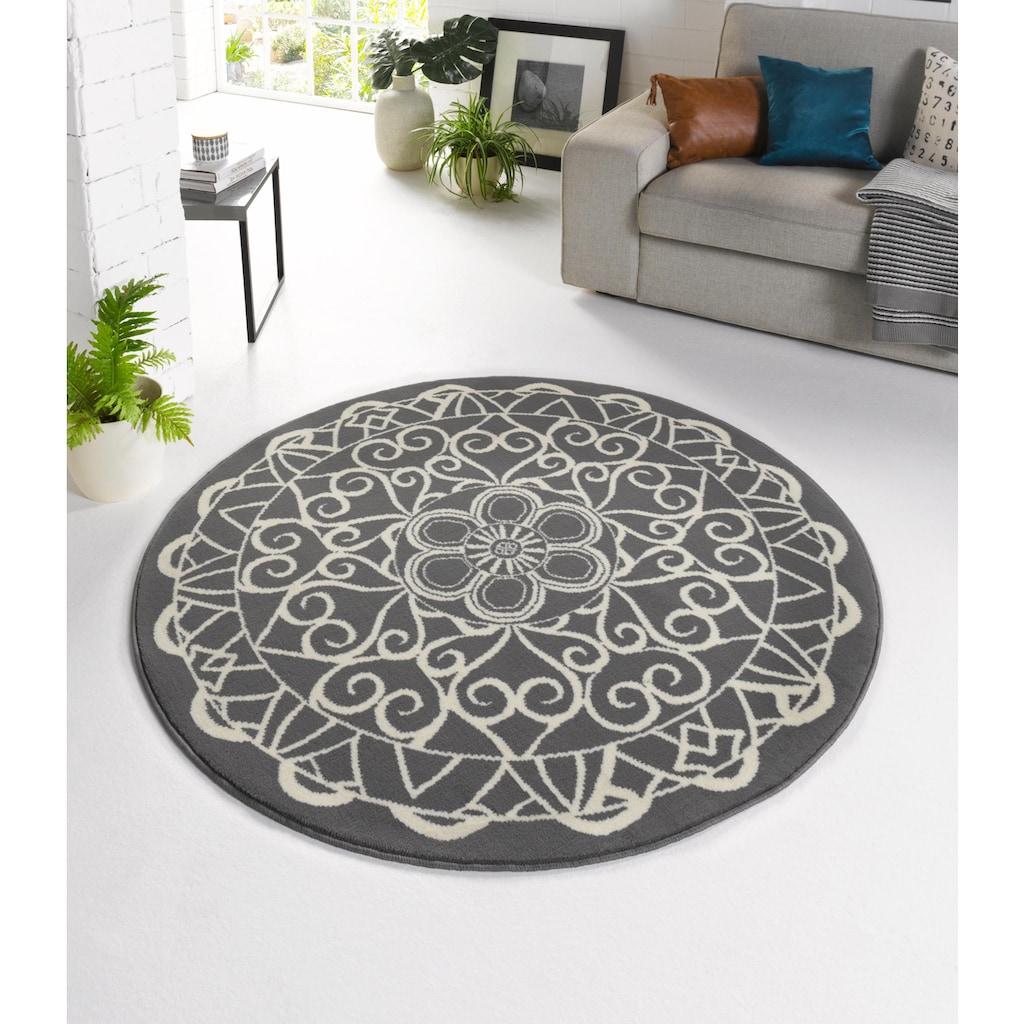 Zala Living Teppich »Mandala 1«, rund, 9 mm Höhe, Kurzflor, Wohnzimmer