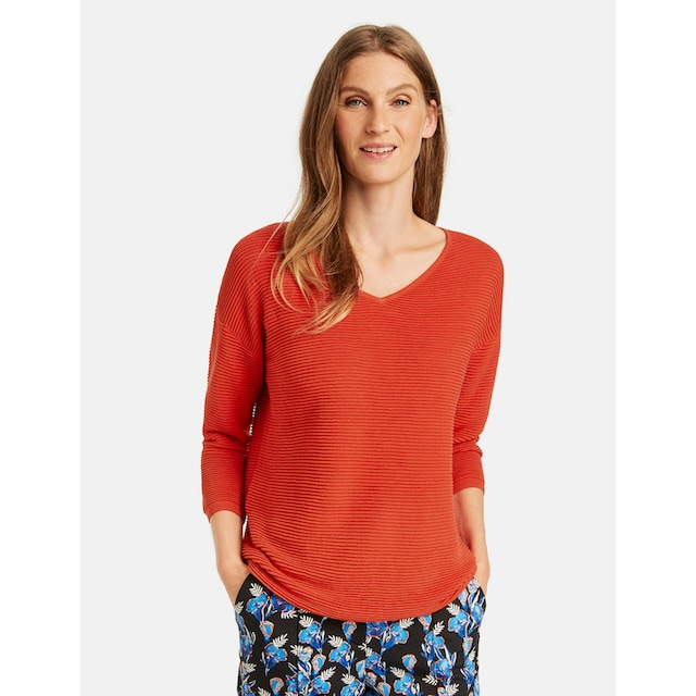 GERRY WEBER 3/4 Arm-Pullover »Quer gerippter Pullover«