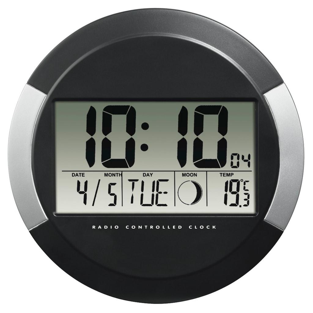Hama Funkwanduhr Funkuhr mit Thermometer, Kalender, Mondphasen