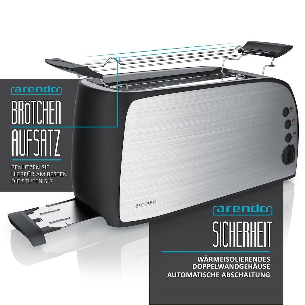Arendo Automatik 4-Scheiben Langschlitz Toaster mit Brötchenaufsatz
