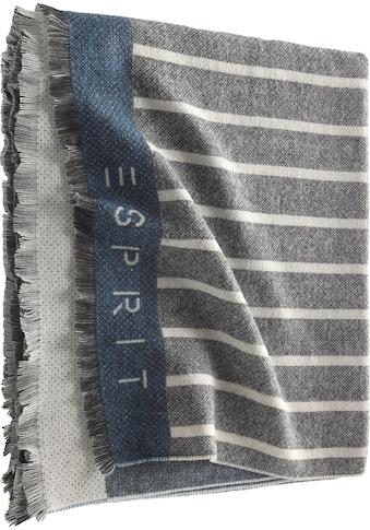 Esprit Wohndecke »Bigstripe«, mit feinen Fransen und Logoschriftzug kaufen