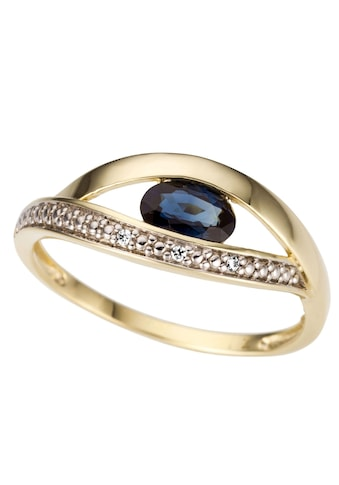 Firetti Goldring »Teilweise mehrreihig, glanz, massiv«, mit Saphir und Brillanten kaufen