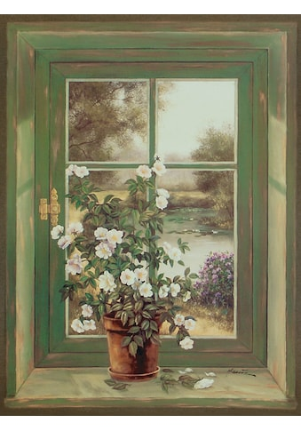 Home affaire Leinwandbild »A. Heins: Wildrosen am Fenster«, 57/79 cm kaufen