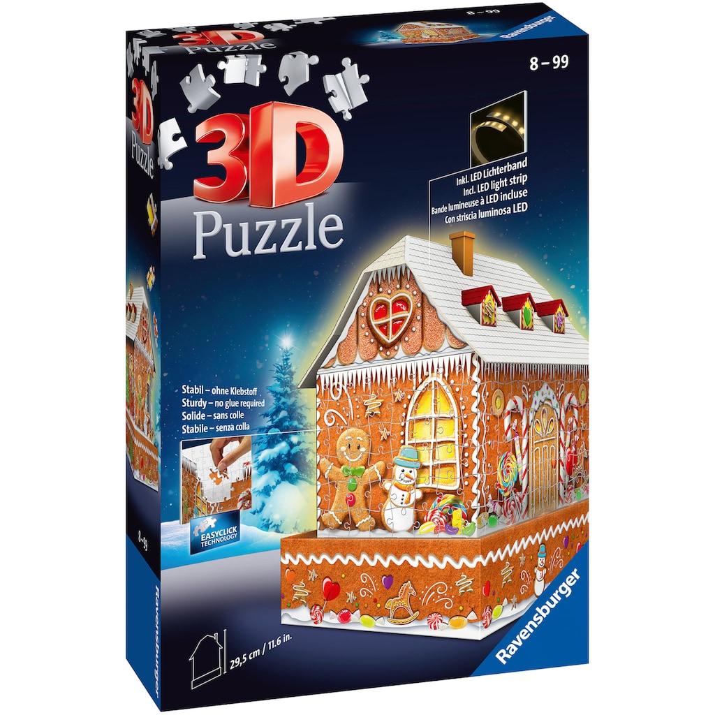 Ravensburger 3D-Puzzle »Lebkuchenhaus bei Nacht«, inkl. LED-Beleuchtung; Made in Europe, FSC® - schützt Wald - weltweit