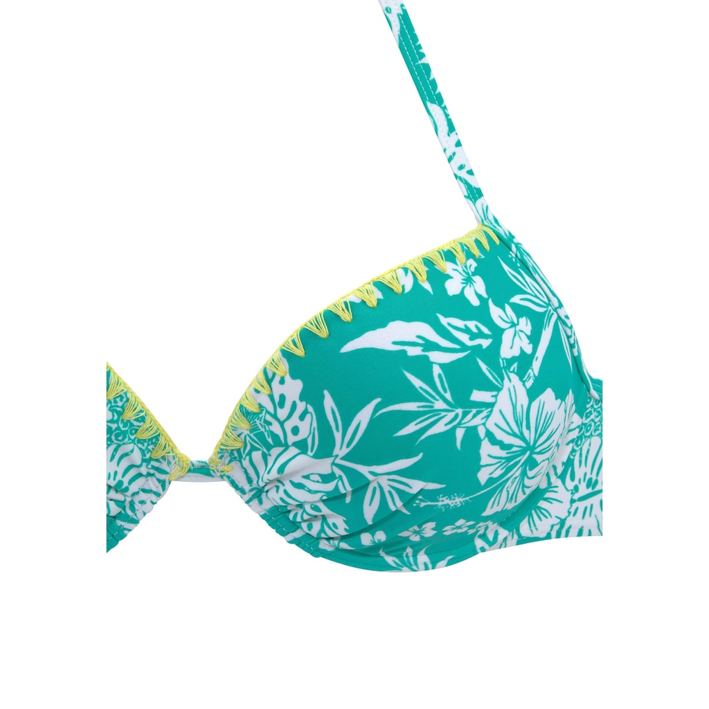 Venice Beach Push-Up-Bikini, mit Kontrasthäkelkante