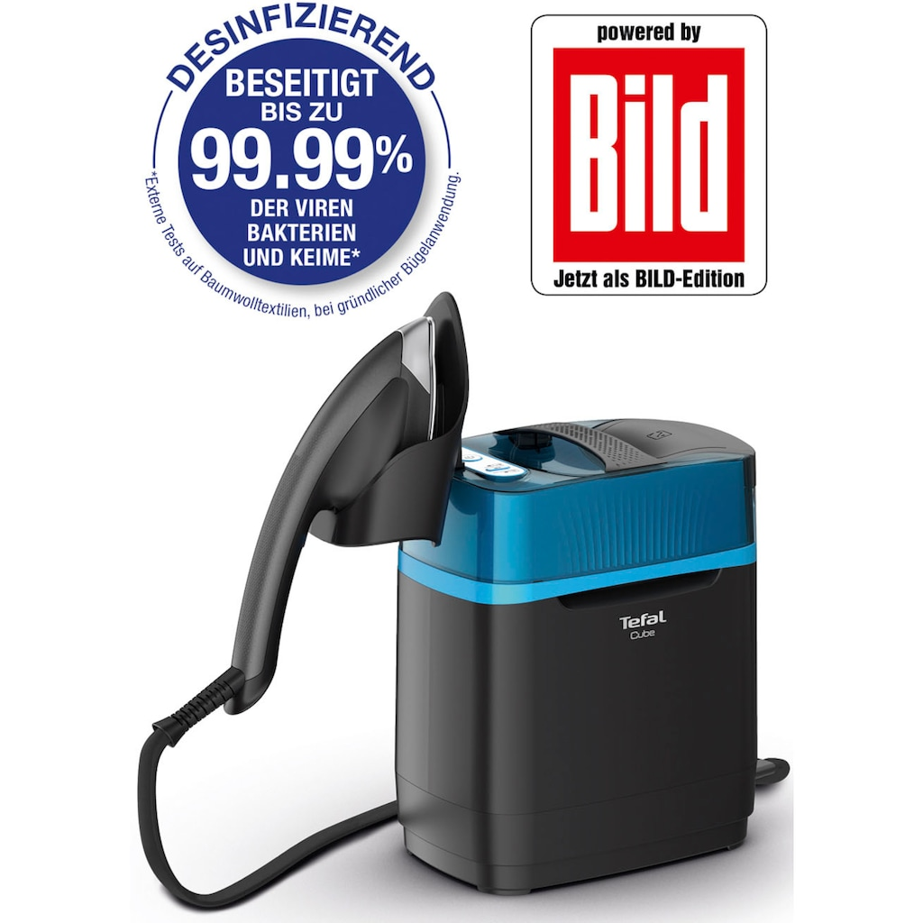 Tefal Dampfbürste »Powered By BILD - UT2020 CUBE«, 2200 W, Hygiene-Dampfglätter, Desinfizieren, Hygienische Reinheit, Vertikales Dampfreinigen, Bügeln, Mobil