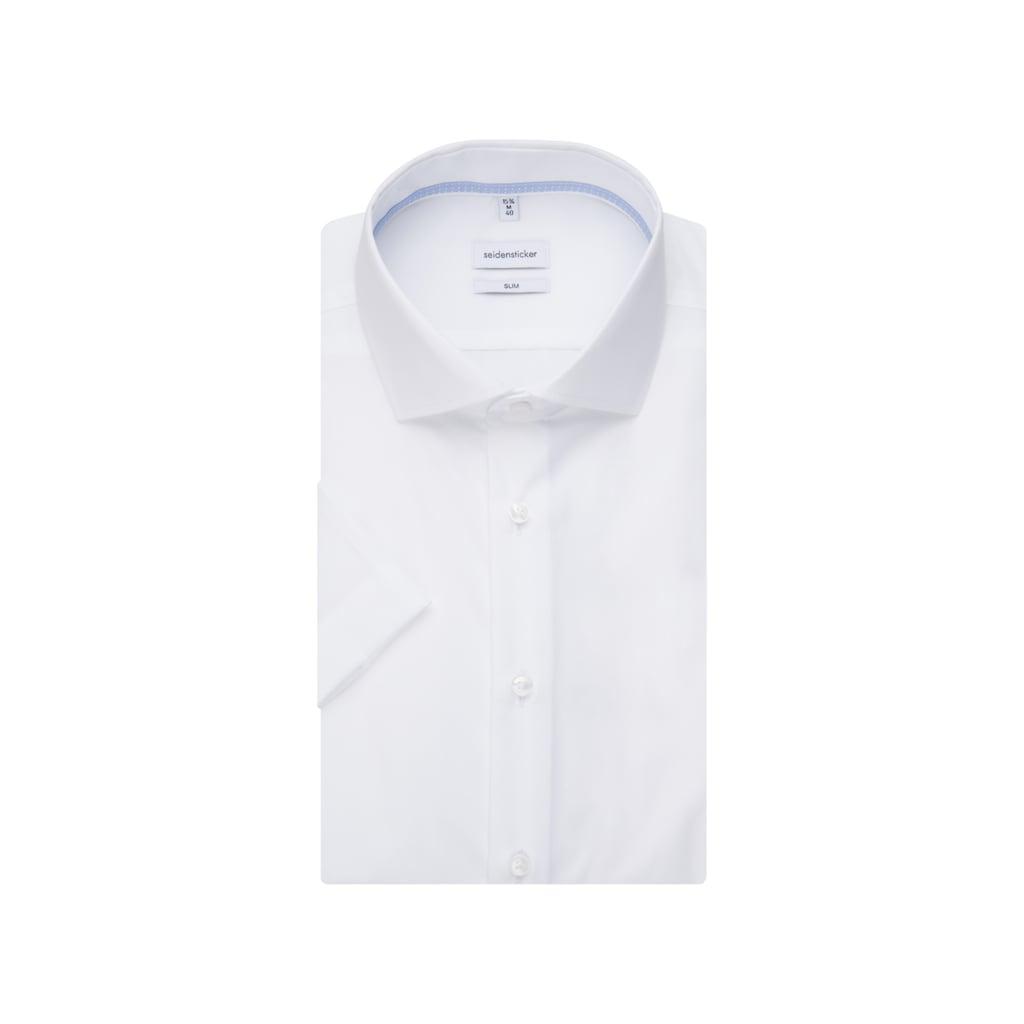 seidensticker Businesshemd »Slim«, Slim Kurzarm Kentkragen Uni