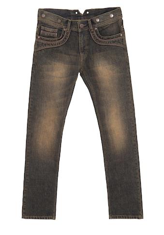 KingKerosin Slim-fit-Jeans »Robin«, mit Lederpaspelierungen und Knöpfen für Hosenträger kaufen