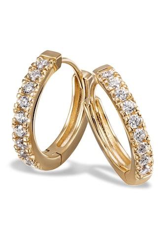 goldmaid Paar Creolen 925/- Sterlingsilber gelb vergoldet 18 Zirkonia kaufen