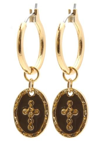 J.Jayz Paar Creolen »mit ovalem Anhänger mit Kreuz«, mit Emaille kaufen