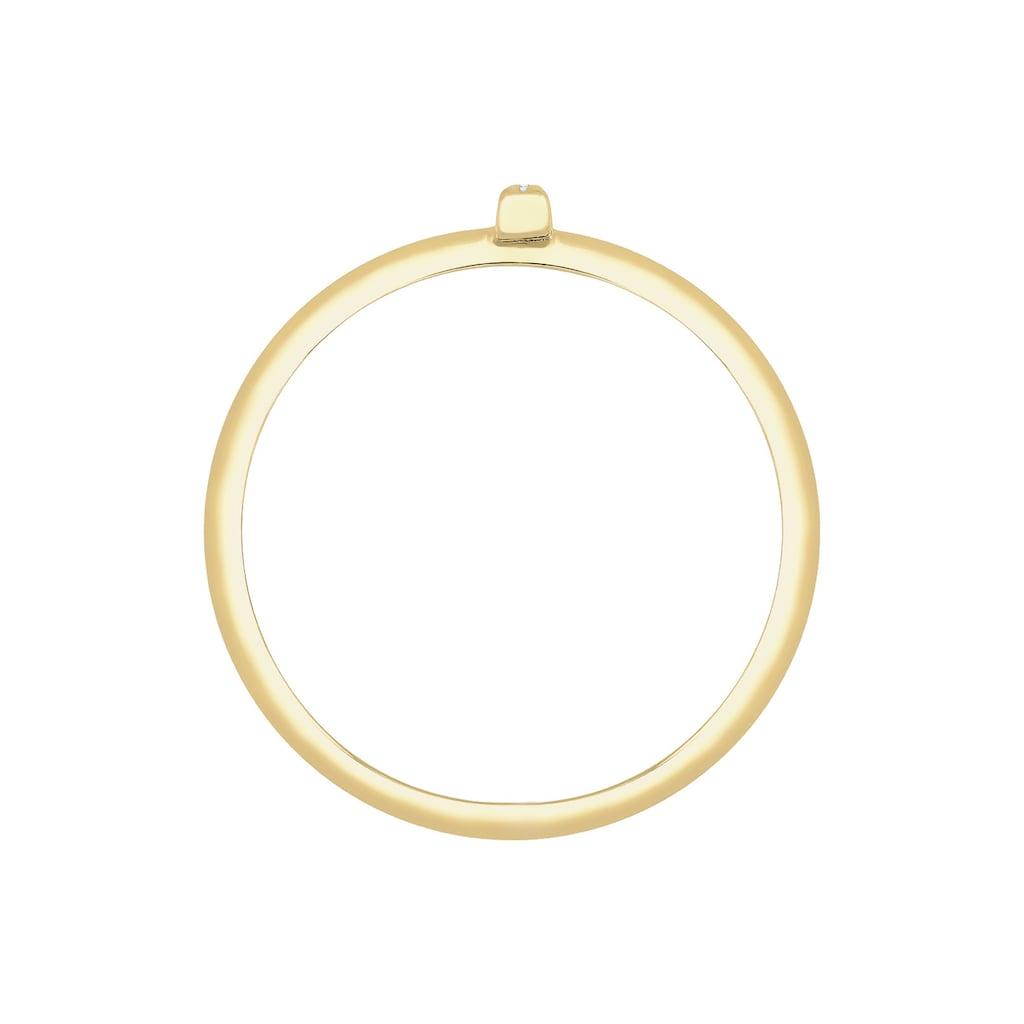 Elli Diamantring »Kreuz Symbol Geo Diamant (0.025 ct.) 375 Gelbgold«