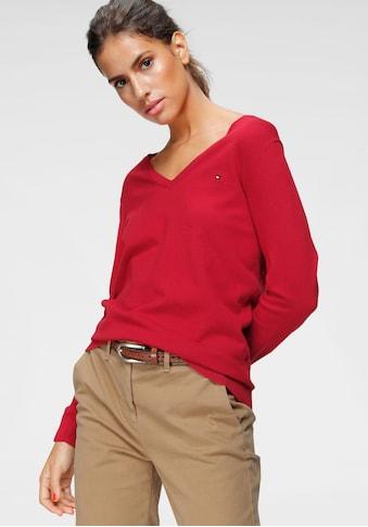 TOMMY HILFIGER V - Ausschnitt - Pullover »HERITAGE V - NECK SWEATER« kaufen