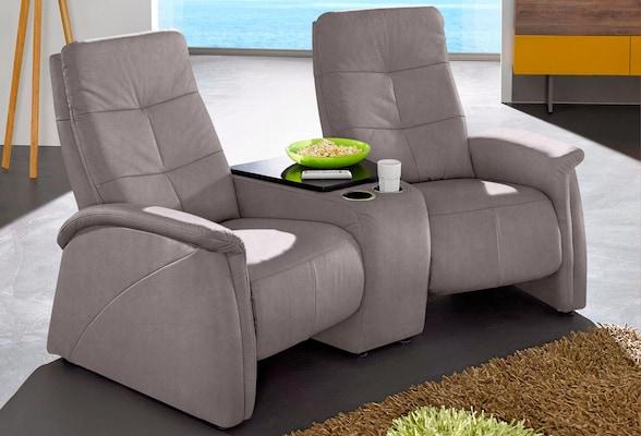 Relaxsofa in Grau für zwei Personen mit Abstellfläche
