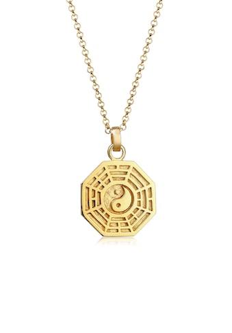Elli Kette mit Anhänger »Bagua Symbol Münze Vintage 925 Silber vergoldet« kaufen