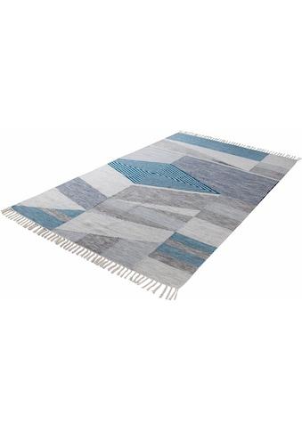 TOM TAILOR Teppich »Modern Kelim«, rechteckig, 5 mm Höhe, Boho-Style, handgewebt, mit... kaufen