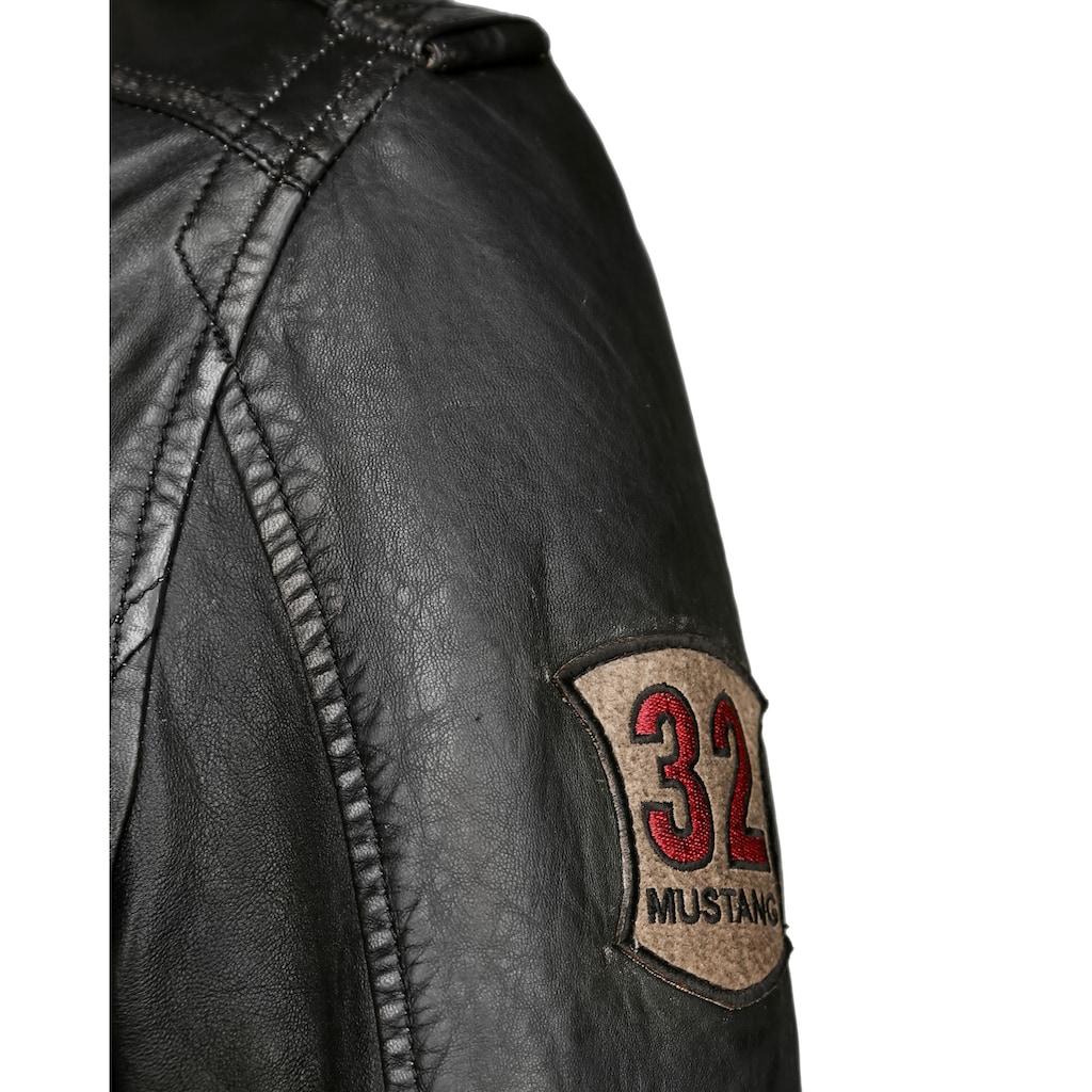 MUSTANG Lederjacke »3102049«, mit abnehmbarem Fake Fur Kragen