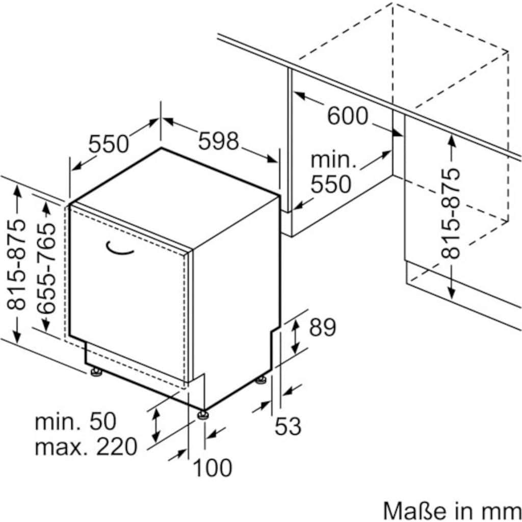 BOSCH vollintegrierbarer Geschirrspüler »SMH4HCX48E«, Serie 4, SMH4HCX48E, 14 Maßgedecke