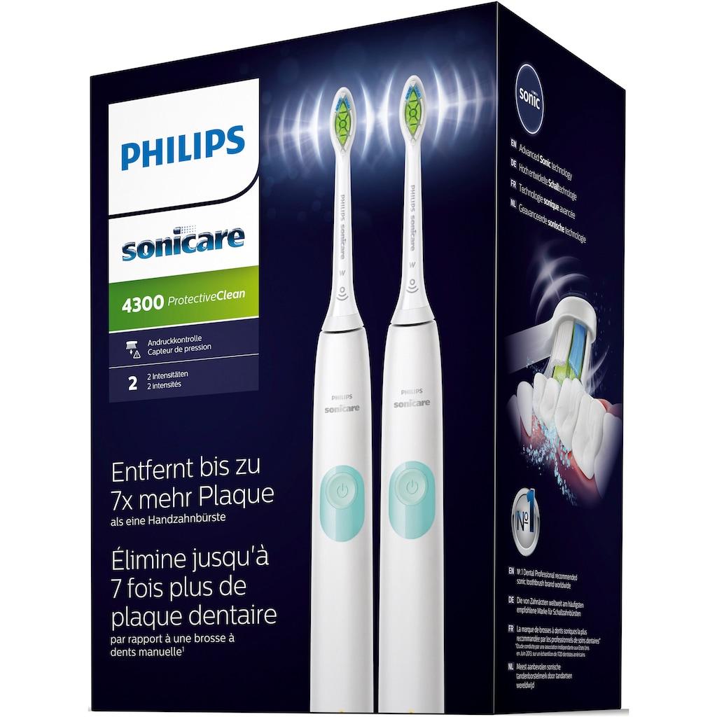 Philips Sonicare Elektrische Zahnbürste »HX6807/35«, 2 St. Aufsteckbürsten, ProtectiveClean 4300 Schallzahnbürste mit Clean-Putzprogramm inkl. 2 Reiseetuis & Ladegerät
