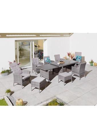 KONIFERA Gartenmöbelset »Parla«, (21 tlg.), 6 Sessel, 2 Hocker, AZ Tisch 150-242,5x80... kaufen