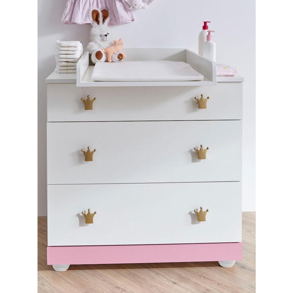 Ticaa Babyzimmer-Komplettset »Prinz/Prinzessin«, (Set, 5 St.), Bett + Wickelkommode + Schrank + Wandregal + Anstellschrank
