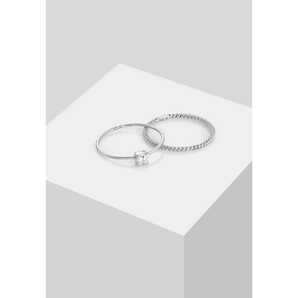Elli Solitärring »Zirkonia Gedreht Twisted Set (2 tlg) 925 Silber«