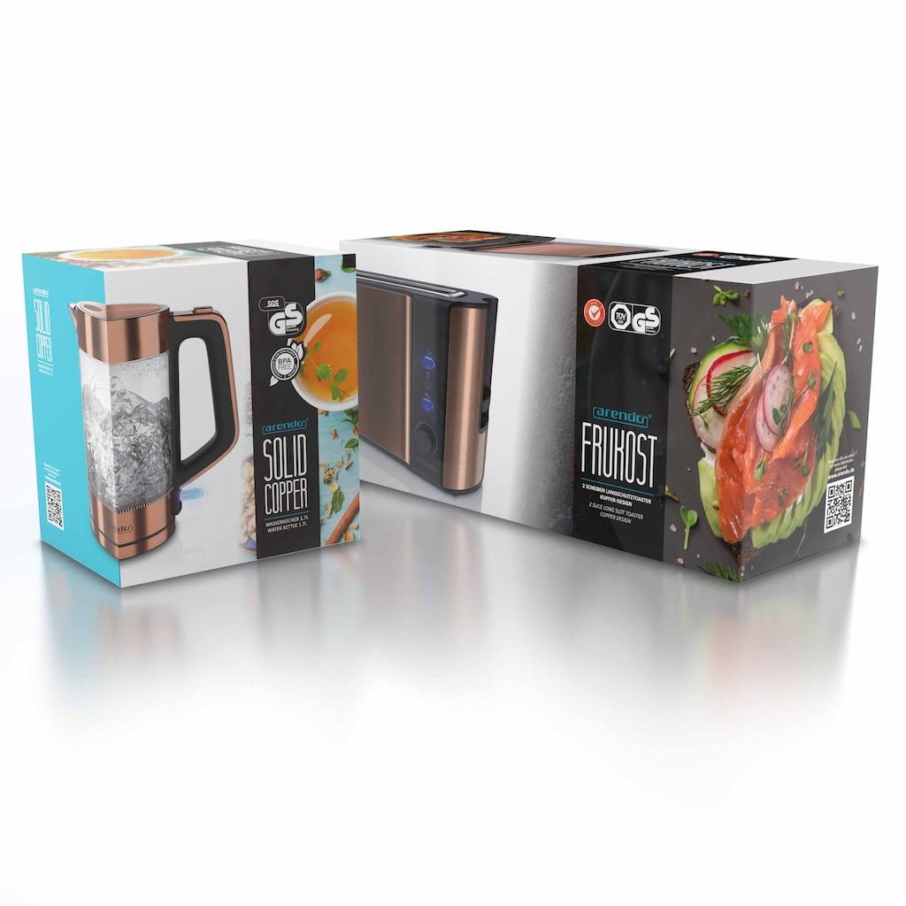 Arendo Frühstücks-Set »Wasserkocher / Toaster«, 2-teilig in Kupfer Optik