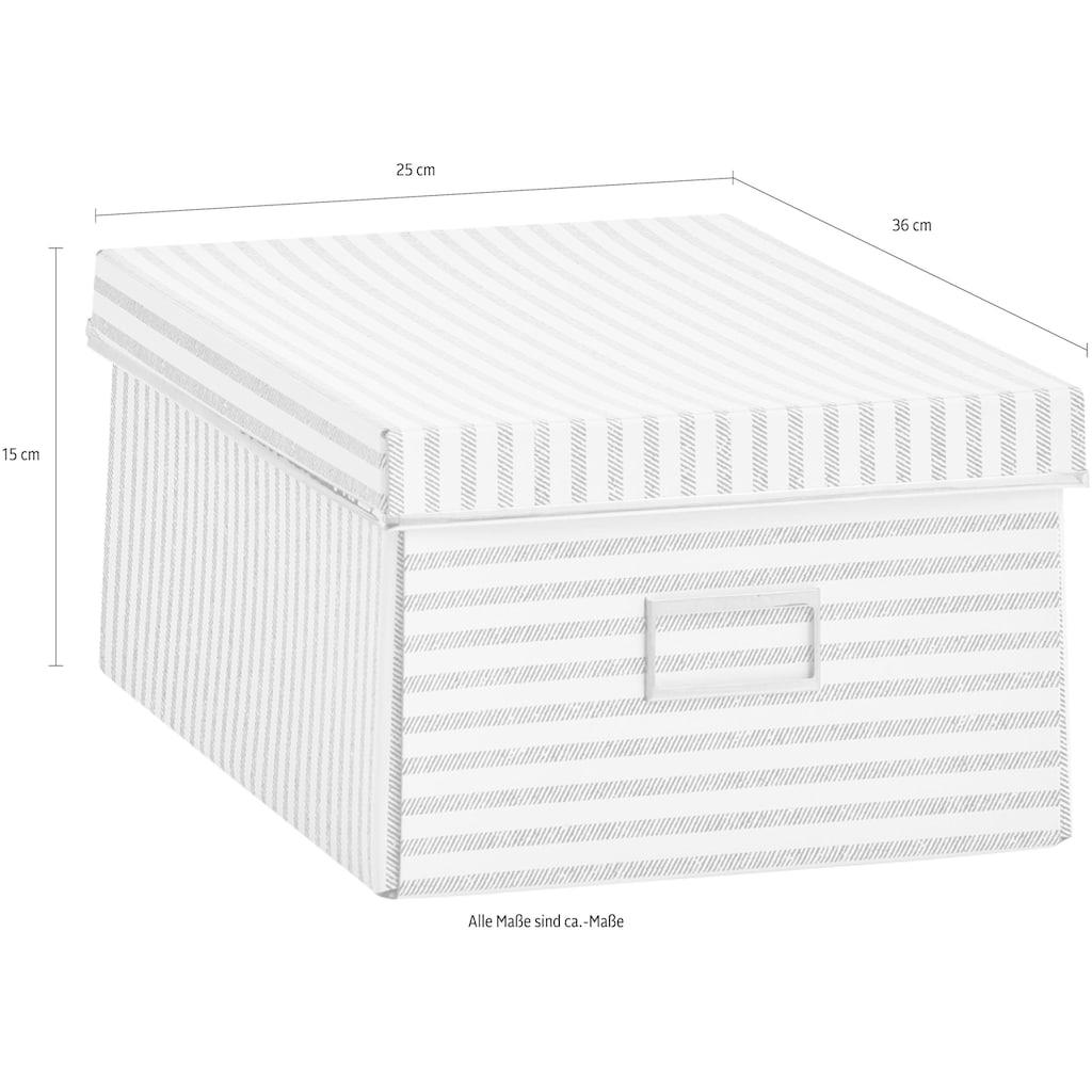 Zeller Present Aufbewahrungsbox »Stripes«, Pappe, beige