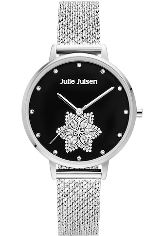 Julie Julsen Quarzuhr »Drop Flower Silver Shiny Black, JJW1174SME« kaufen