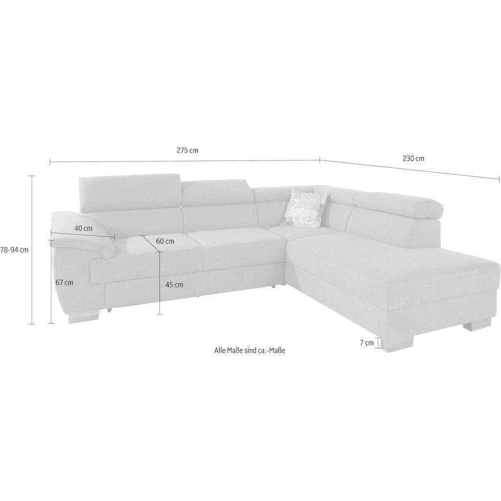 DOMO collection Ecksofa »Severo«, inklusive Kopfteilverstellung, wahlweise mit Bettfunktion