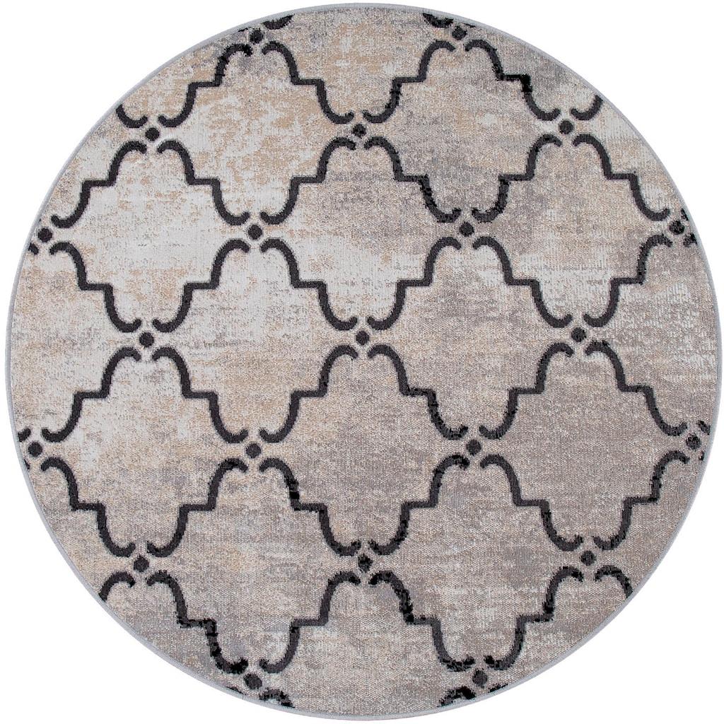 Paco Home Teppich »Artigo 411«, rund, 4 mm Höhe, In- und Outdoor geeignet, Vintage Design, Wohnzimmer
