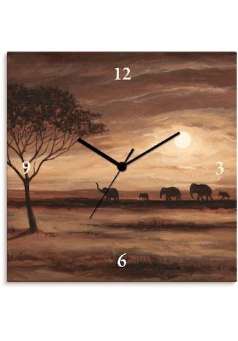 Artland Wanduhr »Afrikanische braune Landschaft Elefanten«, lautlos, ohne... kaufen