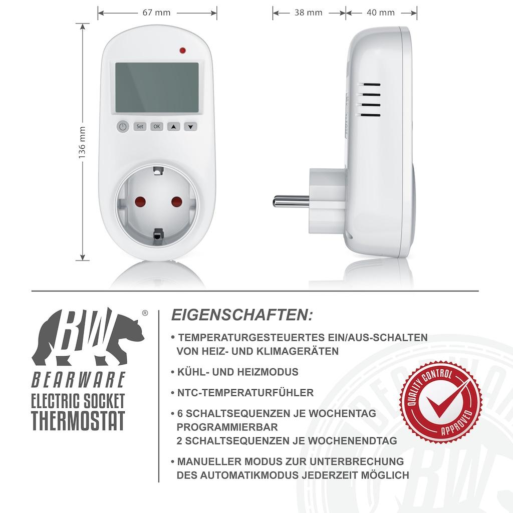 BEARWARE Steckdosen Thermostat für Heiz & Klimageräte »Individuell programmierbar / LCD-Display«