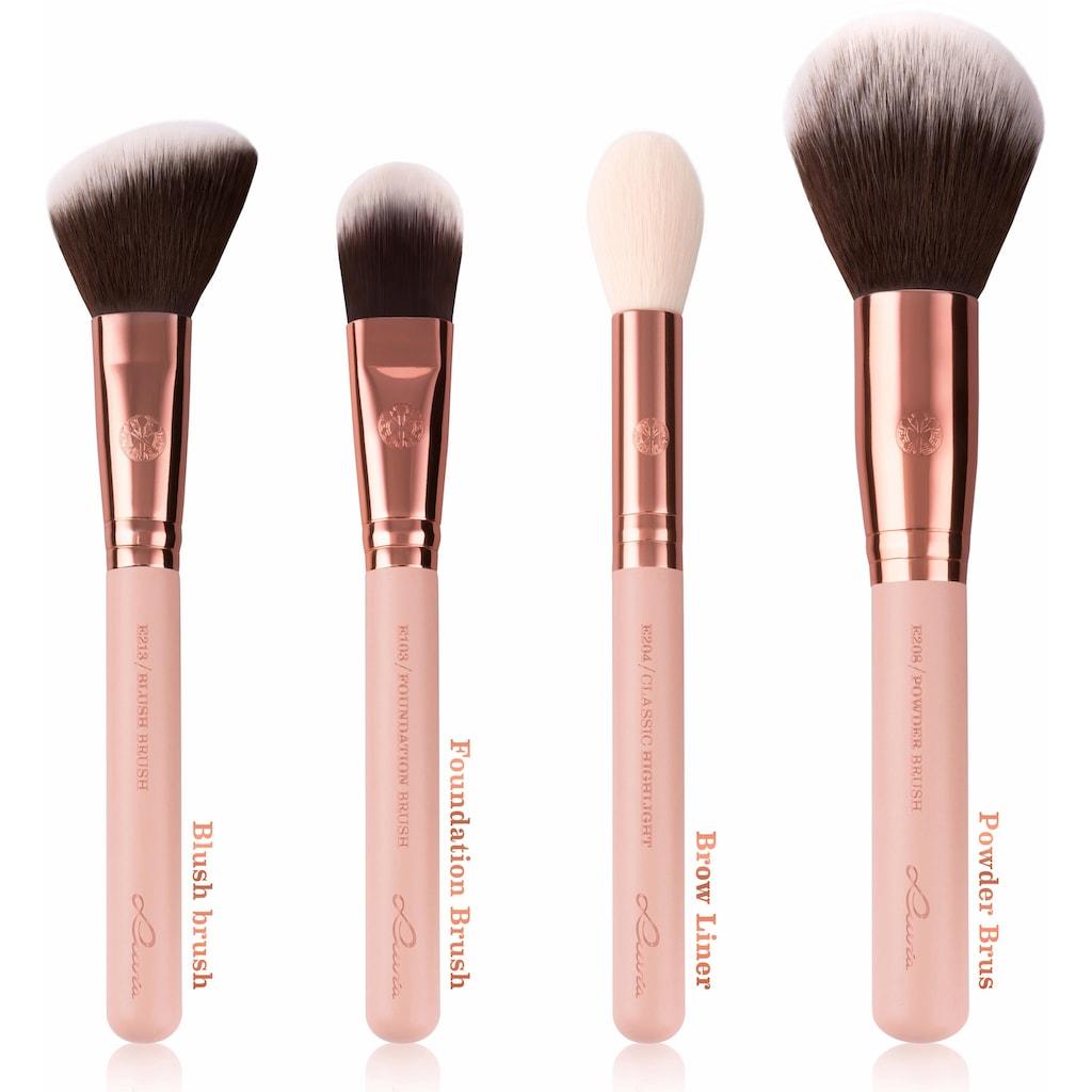 Luvia Cosmetics Kosmetikpinsel-Set »Essential Brushes - Rose Golden Vintage«, (15 tlg., inkl. Pinseltasche), vegan