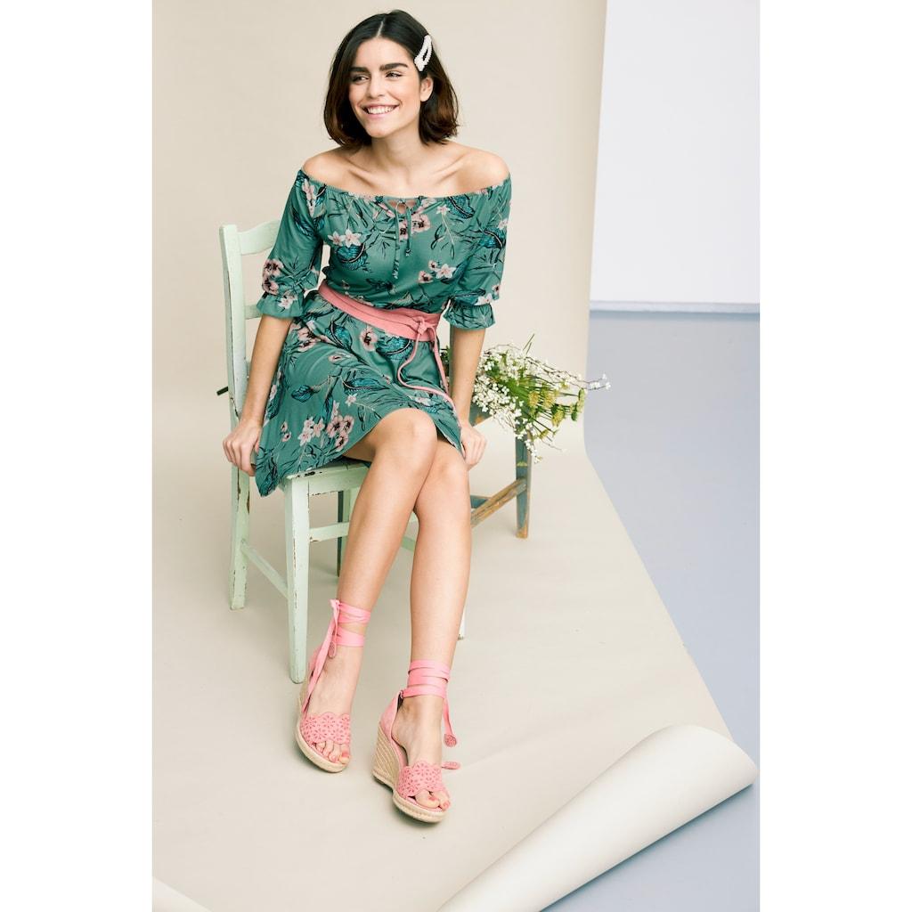 Tamaris Off-Shoulder-Kleid, mit Blumenprint