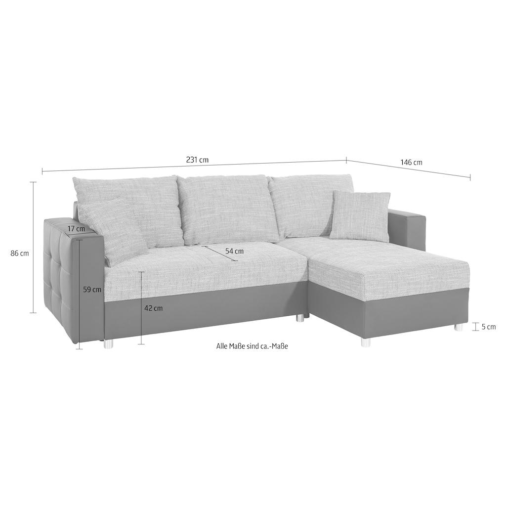 sit&more Ecksofa, inklusive Bettfunktion und Bettkasten, ideal für kleinere Räume