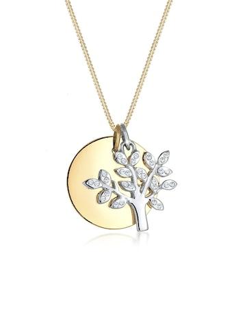 Elli Collierkettchen »Lebensbaum Kreis Kristalle 925 Silber« kaufen