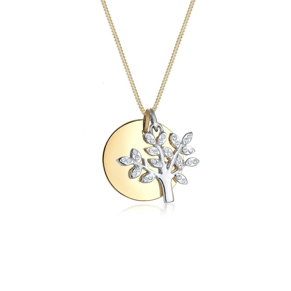 Elli Collierkettchen »Lebensbaum Kreis Kristalle 925 Silber«