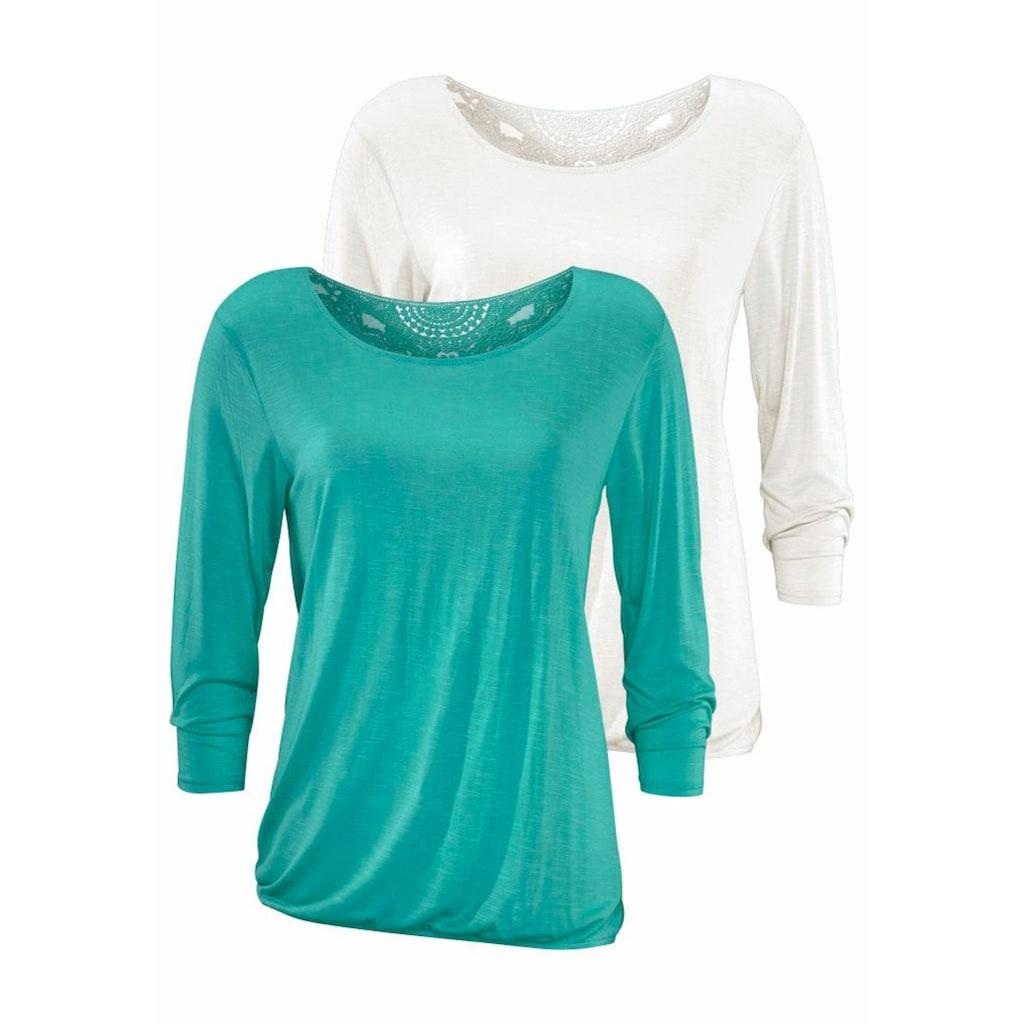 Beachtime 3/4-Arm-Shirt, mit tollem Spitzendetail am Rücken